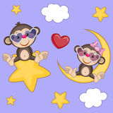 Lovers Monkeys. Valentine card with Lovers Monkeys Royalty Free Stock Photography