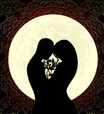 Lovers and moon. Silhouettes of lovers, a big full moon and ornament Stock Images