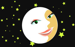 Lovers moon. Moon with woman's face Stock Images