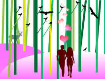 Lovers in nature. Vector illustration Stock Photography