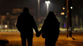 Lovers at night stock footage