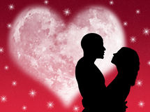 Lovers night. Lovers in a starry night with a heart shape moon Stock Images