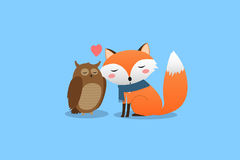 Lovers owl and fox. Postcard to Valentine`s Day. Vector illustration Stock Image