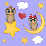 Lovers Owls Vector Illustration