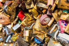 Lovers padlocks on a bridge in Paris Royalty Free Stock Photography