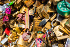 Lovers padlocks on a bridge in Paris Royalty Free Stock Images
