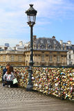 Lovers and padlocks in Paris Royalty Free Stock Photography