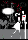 Lovers in Paris. Passionate lovers in Paris Royalty Free Stock Image