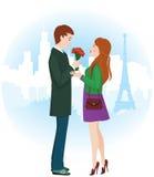 Lovers in Paris. Vector illustration of Lovers in Paris Stock Photos