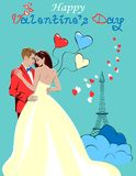 Lovers in Paris. Colorful illustration with lovers, balloons and hearts in Paris on a blue background. Romantic design for Valentine`s Day card, holiday poster Stock Photos