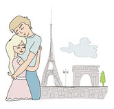Lovers in Paris Stock Photos
