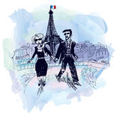 Lovers in Paris (vector) Stock Photos
