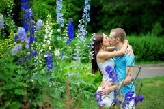 Lovers in the park on a date Royalty Free Stock Photo