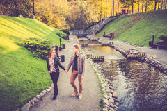 Lovers in park Stock Images