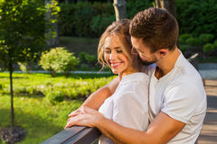 Lovers passionate embrace. Guy gently hugs the girl. Man and women in love Stock Photo