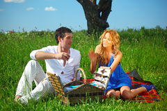 Lovers on picnic Stock Image