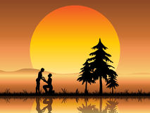 Lovers Proposal Beneath a Sunset. A romantic silhouette of two young lovers proposing beneath a beautiful orange sunset stock illustration