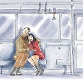 Lovers in public transport. A couple are hugging in a public transport Royalty Free Stock Image