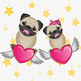 Lovers Pug Dogs Royalty Free Stock Photos
