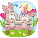 Lovers Rabbits. Valentine card with Lovers Rabbits Stock Photography