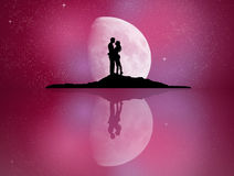 Lovers reflected in the moonlight. Illustration of lovers reflected in the moonlight Stock Image