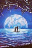 Lovers ride on swing, male man and girl woman against background of big moon. night blue ocean, sea waves, fantasy, romance, love, Stock Photo
