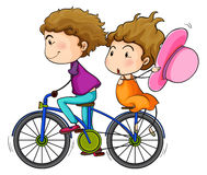 Lovers riding a bike. Illustration of the lovers riding a bike on a white background Stock Image