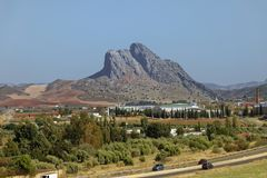 The Lovers Rock, Antequera, amazing rock formation. andalucia. royalty free stock image