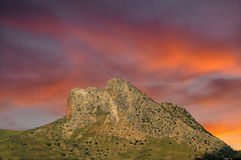 Lovers Rock Antequera at sunset Stock Image