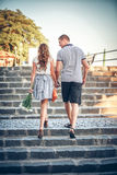 Lovers on romantic walk. Happy lovers on romantic walk Stock Image