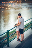 Lovers on romantic walk. Happy lovers on romantic walk Royalty Free Stock Photos