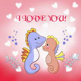 Lovers seahorses greeting card for Valentine's day Stock Image