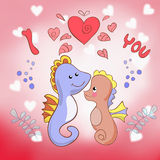 Lovers seahorses greeting card for Valentine's day Royalty Free Stock Images