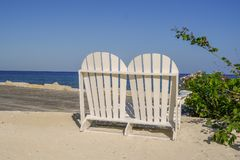 Lovers Seat on the beach in Jamaica Royalty Free Stock Photo