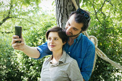 Lovers selfie social Royalty Free Stock Photos