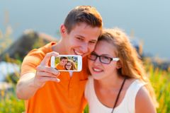 Lovers Selfie Stock Images