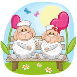 Lovers Sheep. Valentine card with Lovers Sheep on a bench royalty free illustration