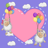 Lovers Sheep. Valentine card with Lovers Sheep flying on balloons Stock Photo