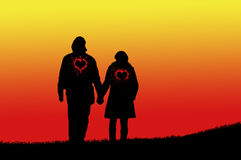 Lovers silhouette Royalty Free Stock Photo