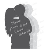 Lovers silhouette. Gray silhouettes of two lovers kissing on white background with text in various languages Stock Images