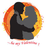 Lovers silhouette. Gray silhouettes of two lovers  on white and orange background with text Stock Image