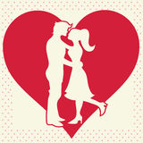 Lovers silhouette on heart background postcard Royalty Free Stock Images