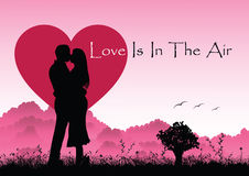 Lovers silhouette heart Royalty Free Stock Image
