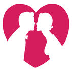 Lovers silhouette kissing. Over a red heart royalty free illustration
