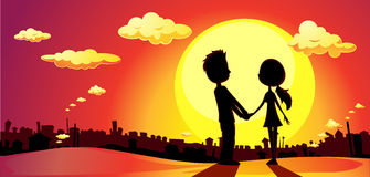Lovers silhouette in sunset - vector Royalty Free Stock Photo