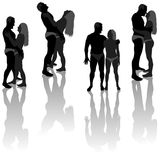 Lovers Silhouettes Royalty Free Stock Photo