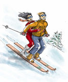 Lovers are skiing. On the same skiboard Stock Photos