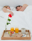 Lovers sleeping after having breakfast Stock Photos