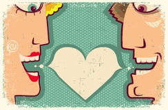 Lovers Speaking and bubble for text.Vector Cartoon Stock Photography