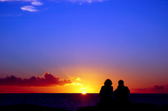 Lovers and sunset 1. Two lovers and sunset Stock Images